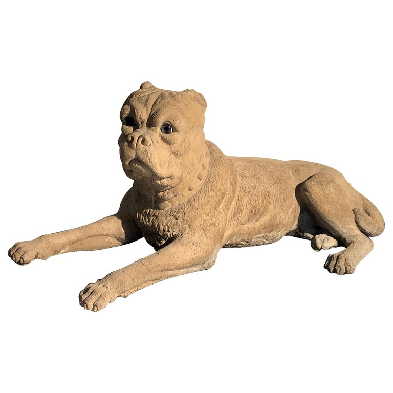 Antique Terracotta Dog English Bulldog Animal Sculpture, England For Sale