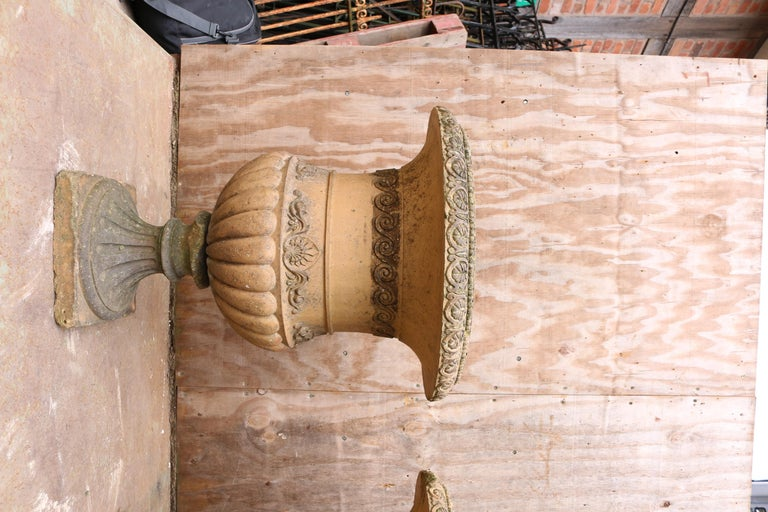English Antique Terracotta Garden Planters or Urns For Sale