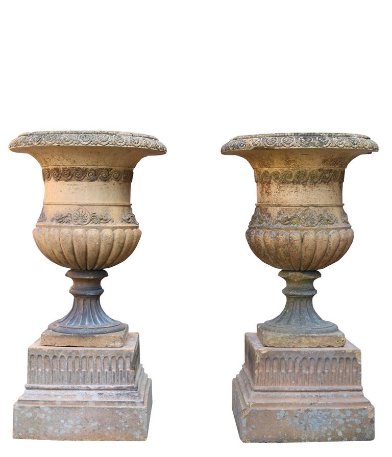 English Antique Terracotta Garden Planters / Urns on Plinths For Sale
