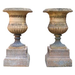 Antique Terracotta Garden Planters / Urns on Plinths