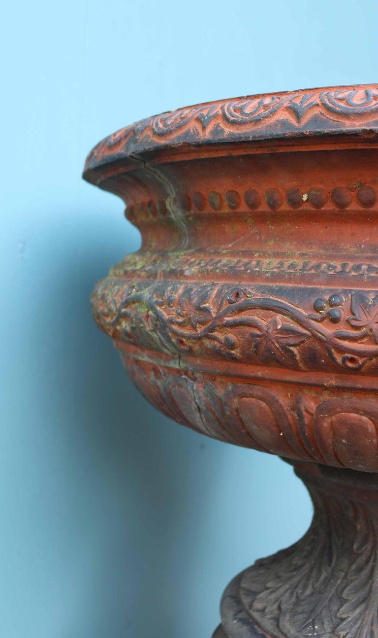 Antique Terracotta Garden Urn Centerpiece For Sale 5