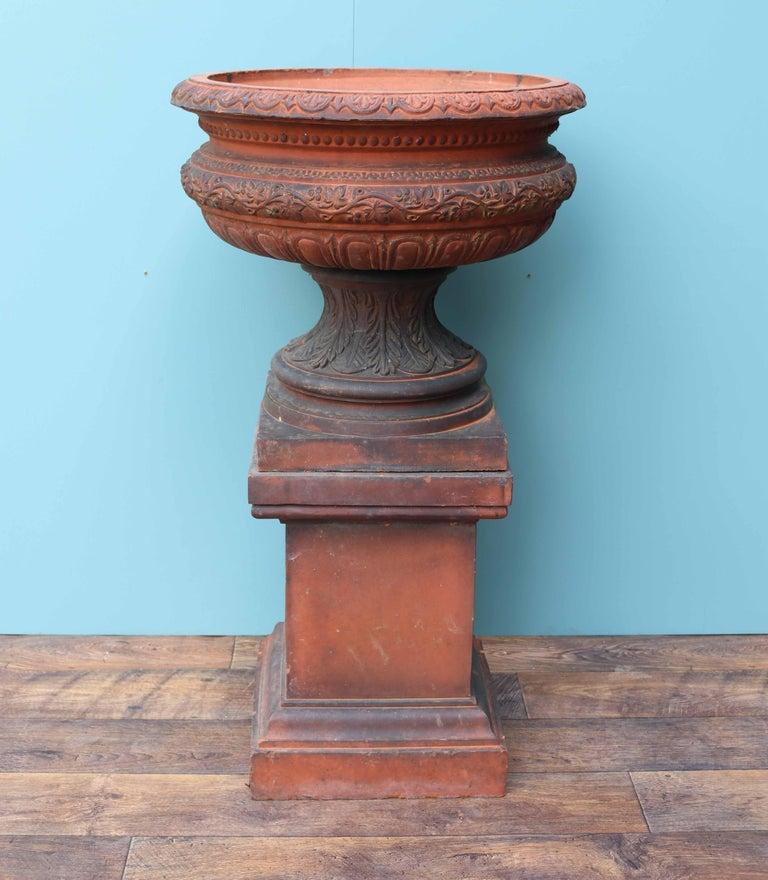 19th Century Antique Terracotta Garden Urn Centerpiece For Sale