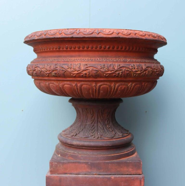 Antique Terracotta Garden Urn Centerpiece For Sale 1