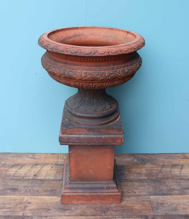 Antique Terracotta Garden Urn Centerpiece For Sale 2