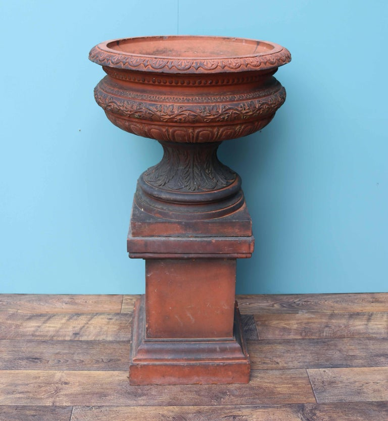 Antique Terracotta Garden Urn Centerpiece For Sale 3