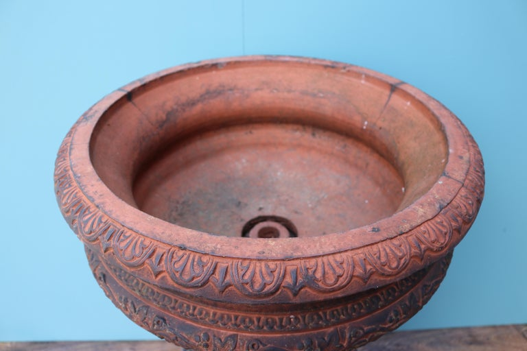 Antique Terracotta Garden Urn Centerpiece For Sale 4
