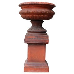 Antique Terracotta Garden Urn Centerpiece