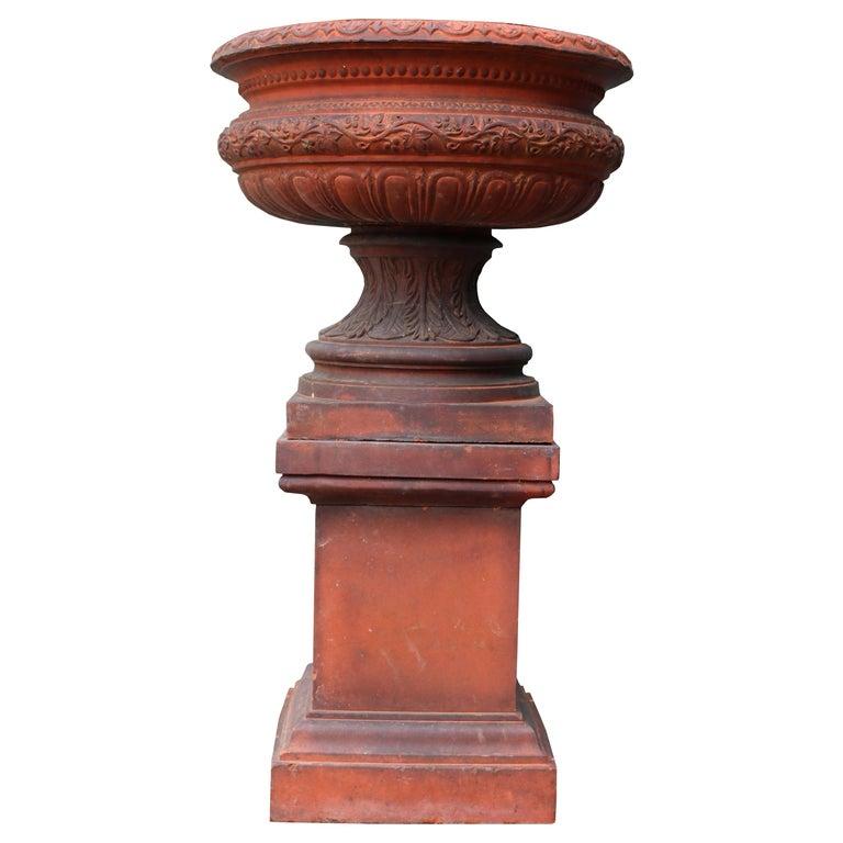 Antique Terracotta Garden Urn Centerpiece For Sale