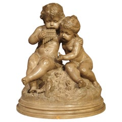 Antique Terracotta of a Boy and Girl, France, Early 1900s