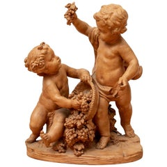 Antique Terracotta Putti Group in the Manner of Clodion