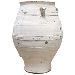 Antique Terracotta Whitewashed Olive Pot with Original Patina