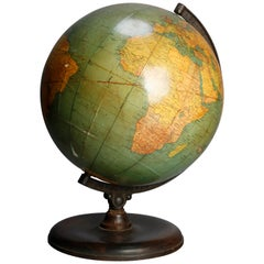 Antique Terrestrial Table Library World Globe by George F. Cram Co., circa 1920