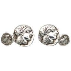 Antique Tetradrachm Coin Silver Cufflinks Athena Owl Wisdom Alpha Theta Epsilon
