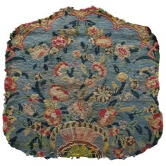 Antique Textile Blue Floral Square Petit Point Fragment with Red Garlands