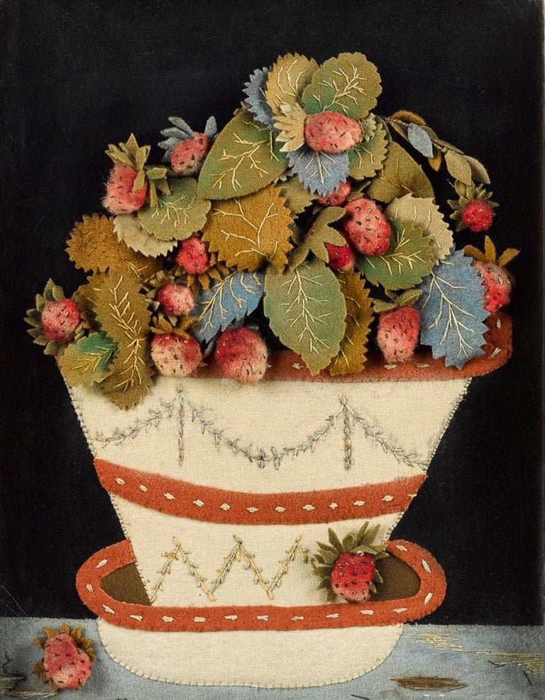 Antique Feltwork picture of a strawberry plant in a pot, Possibly American, circa 1860 (NY9570-cknp)  A charming feltwork picture of a strawberry plant in a decorated pottery cache pot and stand placed on a tablecloth. A ripe strawberry sits on