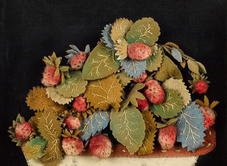 Folk Art Antique Textile Feltwork Picture of a Strawberry Plant in Pot, Possibly American For Sale