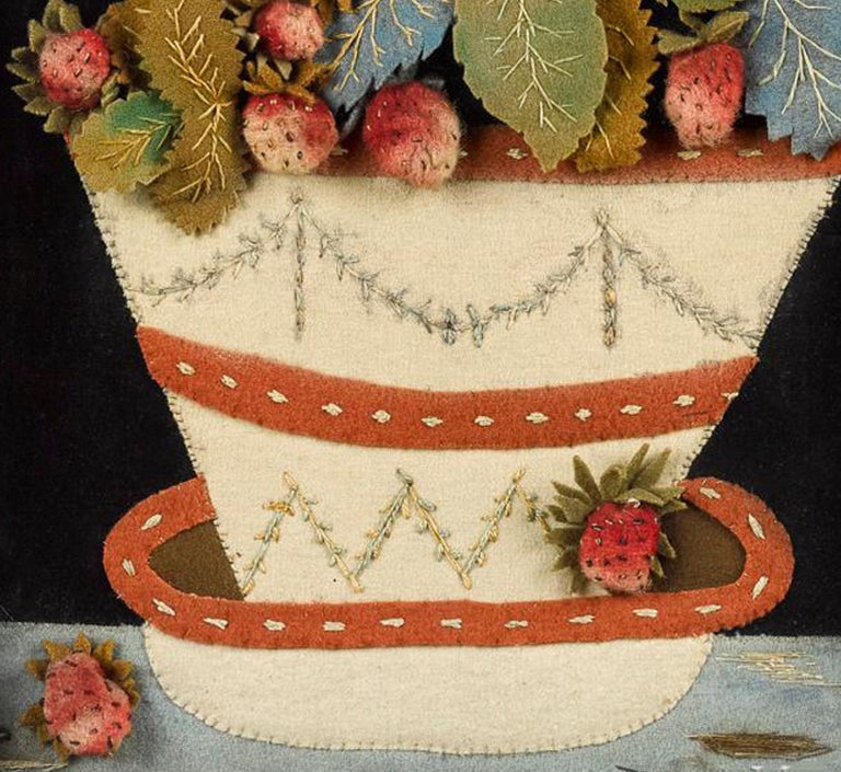 Antique Textile Feltwork Picture of a Strawberry Plant in Pot, Possibly American In Good Condition For Sale In Downingtown, PA