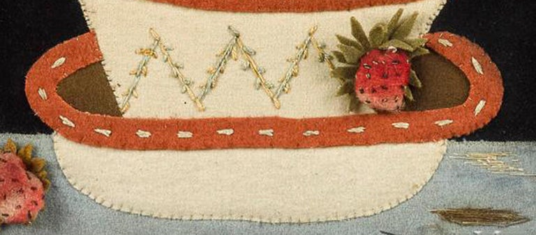 19th Century Antique Textile Feltwork Picture of a Strawberry Plant in Pot, Possibly American For Sale