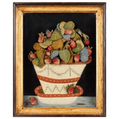 Antique Textile Feltwork Picture of a Strawberry Plant in Pot, Possibly American