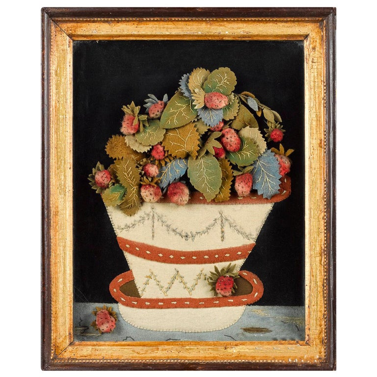 Antique Textile Feltwork Picture of a Strawberry Plant in Pot, Possibly American For Sale
