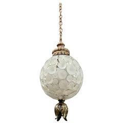 Antique Textured Glass Globe Pendant with Original Brass Fixture