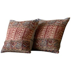Antique textured Natural, Red, and Blue Block Print Paisley Pillow