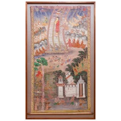 Antique Thai Buddhist Banner Painting, Buddha Descending from Tavatimsa Heaven
