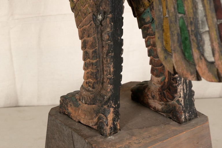 Primitive Antique Thai Carved Garuda Figure For Sale
