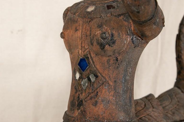 Antique Thai Carved Garuda Figure In Good Condition For Sale In Bridgeport, CT