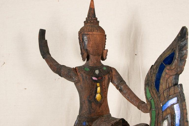 19th Century Antique Thai Carved Garuda Figure For Sale