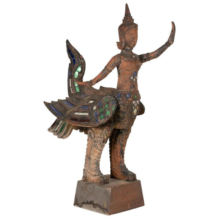 Antique Thai Carved Garuda Figure For Sale