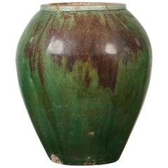 Antique Thai Garden Vase with Distressed Verde Patina and Brown Drip Glaze