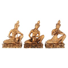Antique Thai Gilt Bronze Musicians