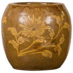 Antique Thai Glazed Ceramic Brown Round Planter with Golden Floral Motifs