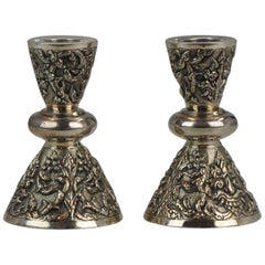 Antique Thailand Sterling Silver Candle Stick Set Bencharong, Thailand
