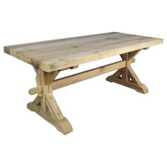 Antique Thick Topped Bleached Oak Trestle Table