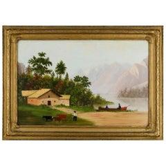 Thomas Chambers School Folk Art Landscape Oil Painting on Panel, 19th Century