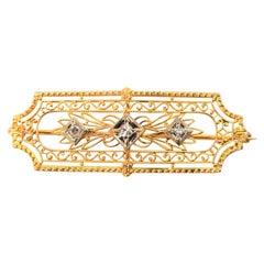 Antique Three Diamond Yellow Gold Filigree Bar Pin
