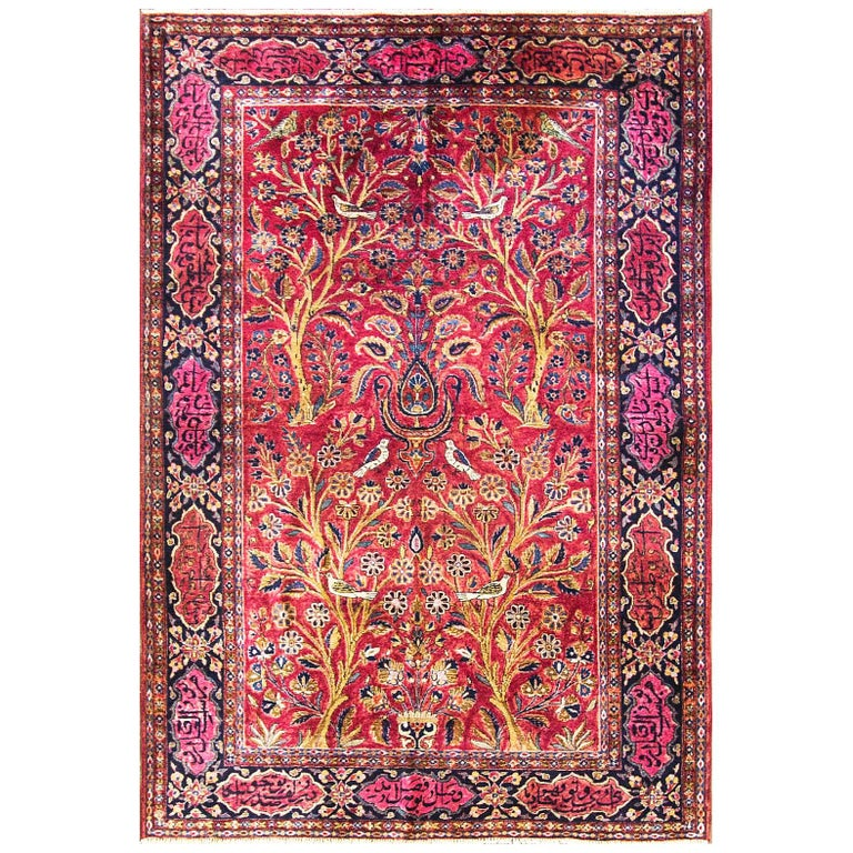 Antique Three Of Life Manchester Kashan Rug For Sale At