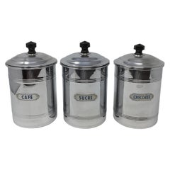 Antique Three-Piece French Aluminum Coffee Set of Canisters, circa 1920s