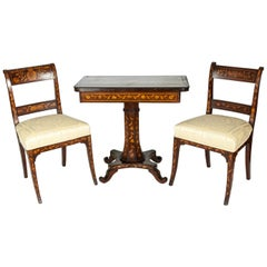 Antique Three-Piece Marquetry Table with Two Side Chair Set