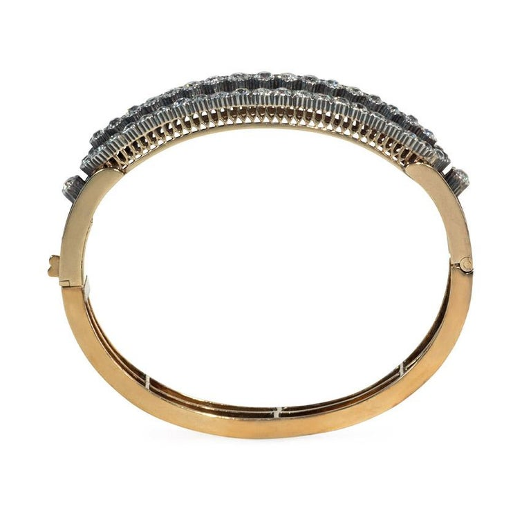 Victorian Antique Three-Row Diamond Half-Hoop Bangle Bracelet in Gold and Sterling Silver For Sale