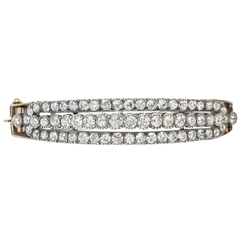 Antique Three-Row Diamond Half-Hoop Bangle Bracelet in Gold and Sterling Silver For Sale