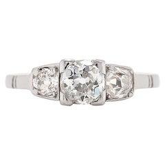 Antique Three-Stone Old Cut Diamond Platinum Engagement Ring, circa 1900s