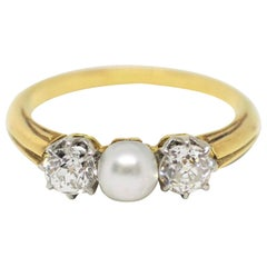 Antique Three-Stone Pearl and Diamond Ring, circa 1910