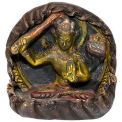 Antique Tibetan Amulet, Leather with Tara Holding Sword