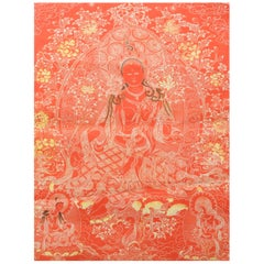 Tibetan Buddha Thangka Screen on Paper with Hand Painted Elements, 19th Century