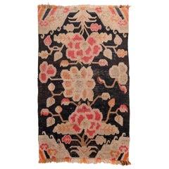Antique Tibetan Carpet with Flowers