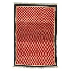 Antique Tibetan Carpet with Minimal Design