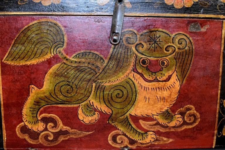 Antique Tibetan Foo Dog Box Hand Painted Box 6 For Sale 6